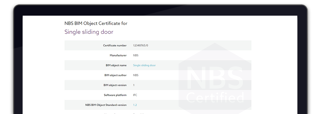 Screenshot of NBS BIM Object Certification